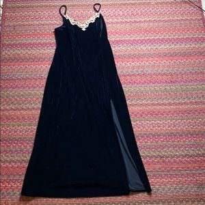 VINTAGE BLACK VELVET MAXI CAMI DRESS
